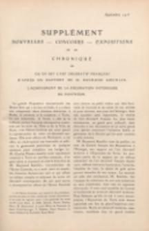 Art et décoration : revue mensuelle d'art moderne. 1913 Supleément Chronique, septembre