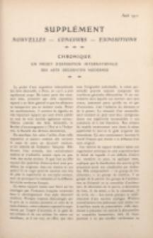 Art et décoration : revue mensuelle d'art moderne 1911. Supplément Chronique, aout