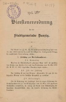 Biersteuerordnung für die Stadtgemeinde Danzig