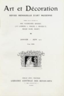 Art et décoration : revue mensuelle d'art moderne. 1912, tome XXXI, janvier-juin