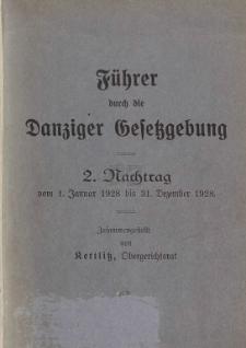 Führer durch die Danziger Gesetzgebung. 2 Nachtrag vom 1. Januar 1928 bis 31. Dezember 1928