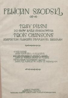 """W opustoszałym starym sadzie = Dans le Verger désert et morne : [pieśń z cyklu] """"Trzy pieśni"""" : op.14 no 2 : [na głos wysoki z tow. fortepianu] / do słów Emila Zegadłowicza ; adapt. franç. d'Emmanuel Barblan"""