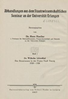 Das Steuerwesen in der Freien Stadt Danzig : 1920-1926