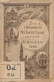 Zum Ersten westpreussischen Städtetag in Danzig am 1. und 2. Juli 1892