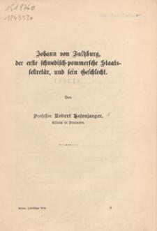 Johann von Faltzburg, der erste schwedisch-pommersche Staats- Sekretär, und sein Geschlecht