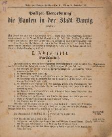 Polizei - Verordnung die Bauten in der Stadt Danzig betreffend