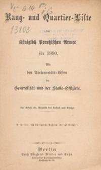 Rang- und Quartier-Liste der Königlich-Preussischen Armee fur 1890