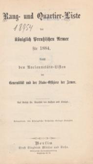 Rang- und Quartier-Liste der Königlich-Preussischen Armee fur 1884
