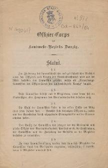 Offizier-Corps des Landwehr-Bezirks Danzig : Statut