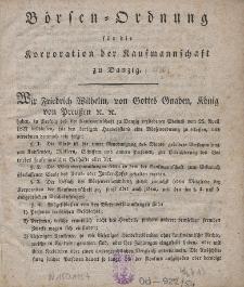 Börsen-Ordung für die Korporation der Kaufmannschaft zu Danzig