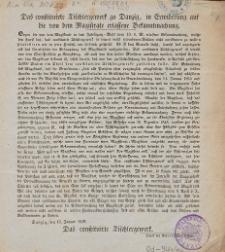 Das constituirte Tischlergewerk zu Danzig, in Erwiderung auf die von dem Magistrate erlassene Bekanntmachung.