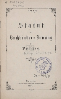 Statut der Buchbinder-Innung zu Danzig