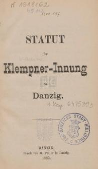 Statut der Klempner-Innung zu Danzig