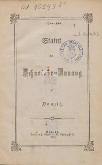 Statut der Schneider-Innung zu Danzig