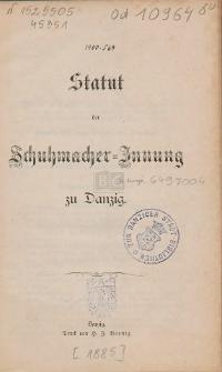 Statut der Schuhmacher-Innung zu Danzig