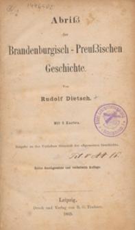 Abriss der Brandenburgisch-Preussischen Geschichte