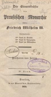Die Staatskräfte der preussischen Monarchie unter Friedrich Wilhelm III. Bd. 3