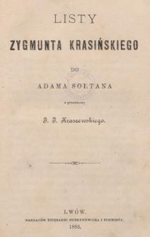 Listy Zygmunta Krasińskiego do Adama Sołtana