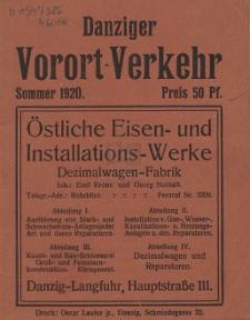 Danziger Vorort-Verkehr : Sommer 1920