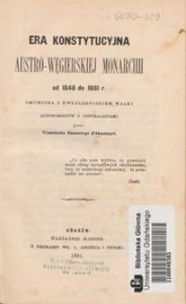 Era konstytucyjna austro-węgierskiej monarchii od 1848 do 1881 r.