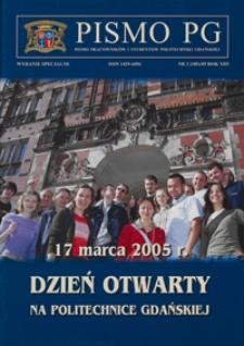 Pismo PG : pismo pracowników i studentów Politechniki Gdańskiej, 2005, R. 13, nr 2, wyd. spec.
