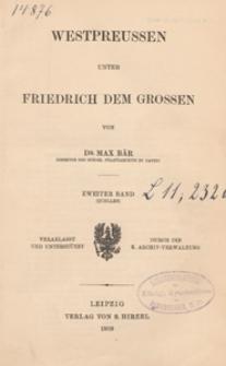 Westpreussen unter Friedrich dem Grossen. Bd. 2, (Quellen)