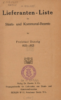 Lieferanten-Liste für Staats- und Kommunal-Beamte im Freistaat Danzig : 1920-1921