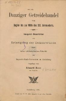 Danziger Getreidehandel vom Beginn bis zur Mitte des 19. Jahrhunderts