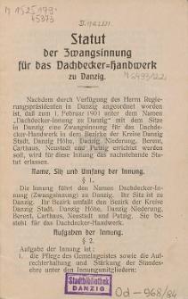 Statut der Zwangsinnung für das Dachdecker-Handwerk zu Danzig