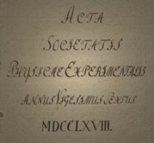 Acta Societatis Physicae Experimentalis. T. 19, 1768-1770