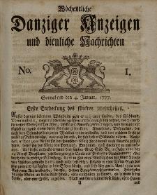 Gemeinnützige Danziger Anzeigen Erfahrungen und Erläuterungen allerley nützlicher Dinge und Seltenheiten 1777