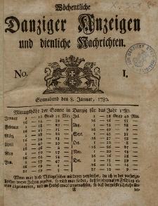 Gemeinnützige Danziger Anzeigen Erfahrungen und Erläuterungen allerley nützlicher Dinge und Seltenheiten 1780