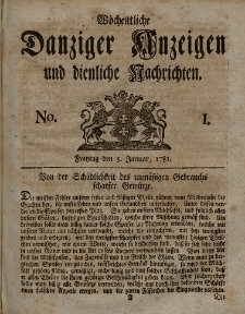 Gemeinnützige Danziger Anzeigen Erfahrungen und Erläuterungen allerley nützlicher Dinge und Seltenheiten 1781