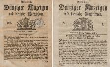 Gemeinnützige Danziger Anzeigen Erfahrungen und Erläuterungen allerley nützlicher Dinge und Seltenheiten 1784-1785