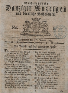 Gemeinnützige Danziger Anzeigen Erfahrungen und Erläuterungen allerley nützlicher Dinge und Seltenheiten 1793