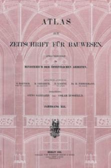 Atlas zur Zeitschrift für Bauwesen, Jg. 41, H. 1-12 (1891)