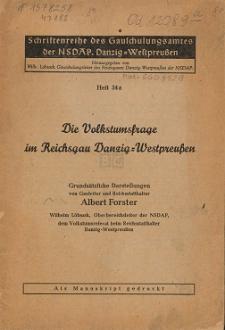 Die Volkstumsfrage im Reichsgau Danzig-Westpreußen