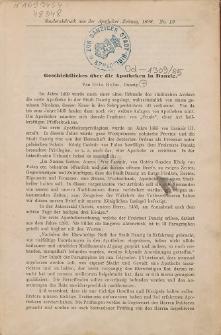Geschichtliches über die Apotheken in Danzig