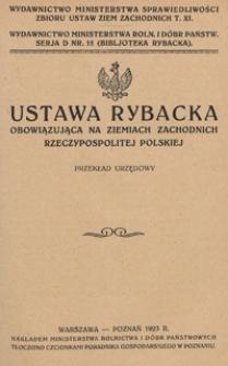Ustawa rybacka obowiązująca na Ziemiach Zachodnich Rzeczypospolitej Polskiej : (przekład urzędowy)