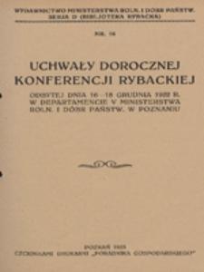 Uchwały dorocznej konferencji rybackiej (odbytej dnia 16-18 grudnia 1922 r. w Departamencie V Ministerstwa Roln. i Dóbr Państw. w Poznaniu)