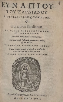 Eunapiou Tou Sardianou Vioi Filosofōn Kai Sofistōn