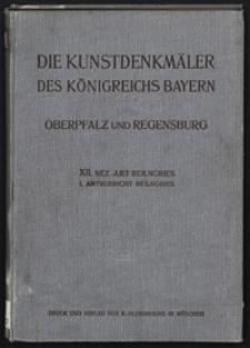 Die Kunstdenkmäler von Oberpfalz & Regensburg. H. 12.1. Bezirksamt Beilngries. Amtsgericht Beilngries