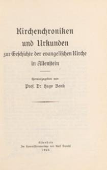 Kirchenchroniken und Urkunden zur Geschichte der evangelischen Kirche in Allenstein