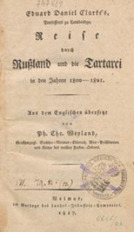 Eduard Daniel Clarke's Reise durch Russland und die Tartarei in den Jahren 1800-1801