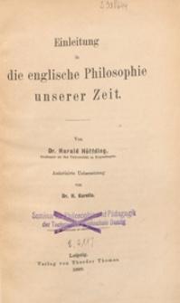 Einleitung in die englische Philosophie unserer Zeit