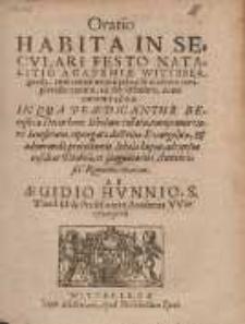 Oratio Habita In Secvlari Festo Natalito Academiæ Wittebergensis [...]