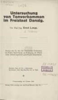 Untersuchung von Tonvorkommen im Freistaat Danzig