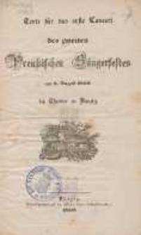 Gesänge zu dem ersten Conzert des Gesangfestes in Danzig : gehalten am 25. September 1834 in der Ober-Pfarr-Kirche zu St. Marien.
