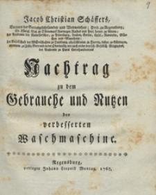 Jacob Christian Schaffers Nachtrag zu dem Gebrauche und Nutzen der verbesserten Waschmaschine