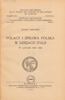 Polacy i sprawa polska w dziejach Italii w latach 1830-1866